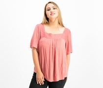 Lucky Brand Women's Shadow-Stripe Square-Neck Peasant Top, Coral