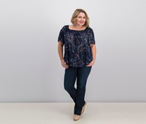 Women Plus Size Floral-Print Top, Navy Combo