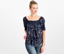 Lucky Brand Printed Square-neck Top, Navy Combo