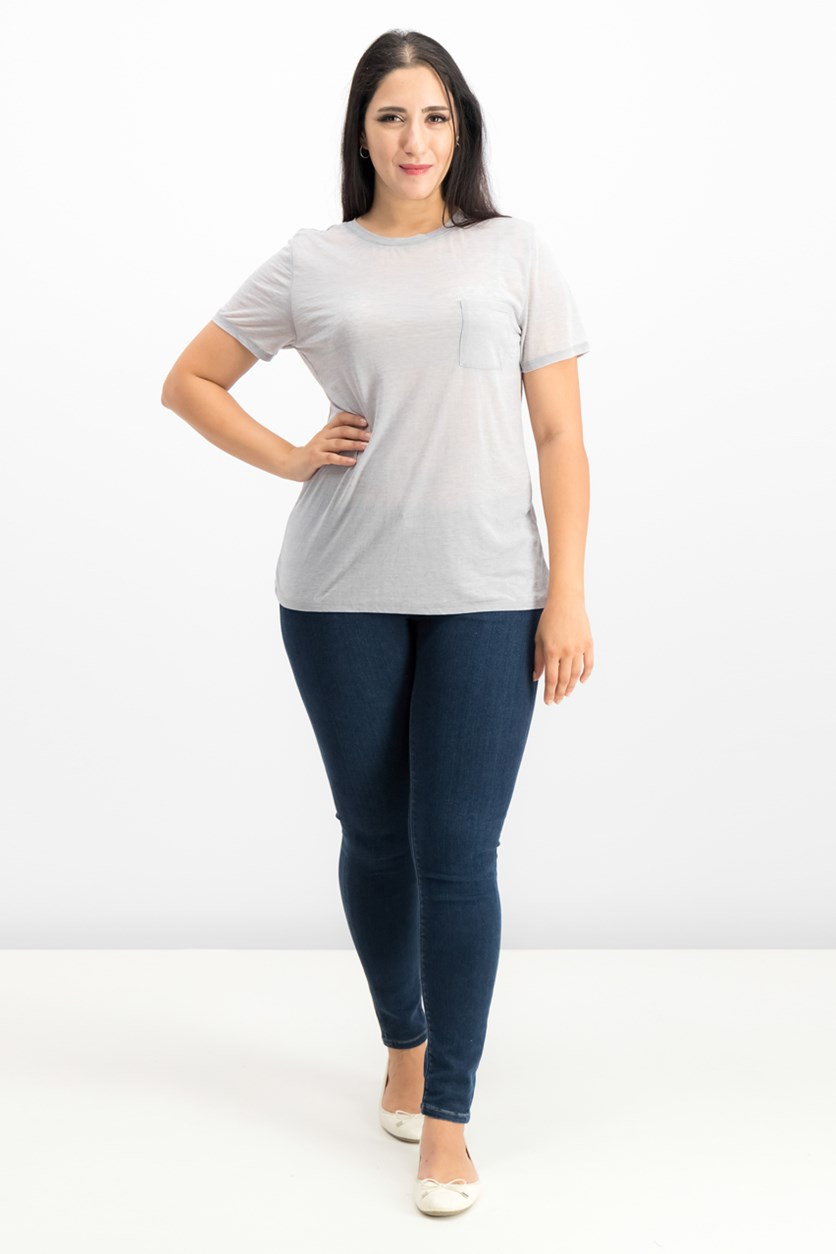 Juniors' High-Low Burnout T-Shirt, Heather Grey