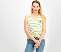 Disney Juniors' Minnie Mouse Striped Knot-Front Tank Top, Yellow