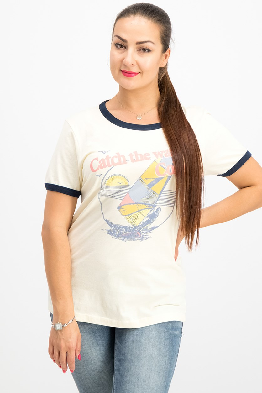 Cotton Cola-Graphic T-Shirt, Natural/Navy