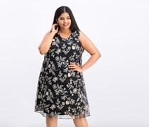 Women Plus Size Embroidered A-line Dress, Black Combo