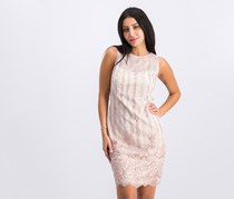 Women Embroidered Mesh Dress, Blush