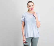 Calvin Klein Icy Wash Cold-Shoulder Vented Tops, Alloy
