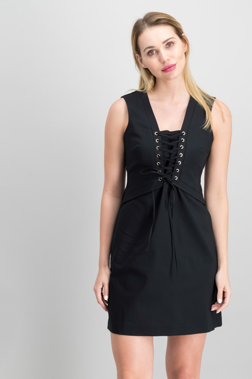 Women  Lace-Up Sheath Dress, Black