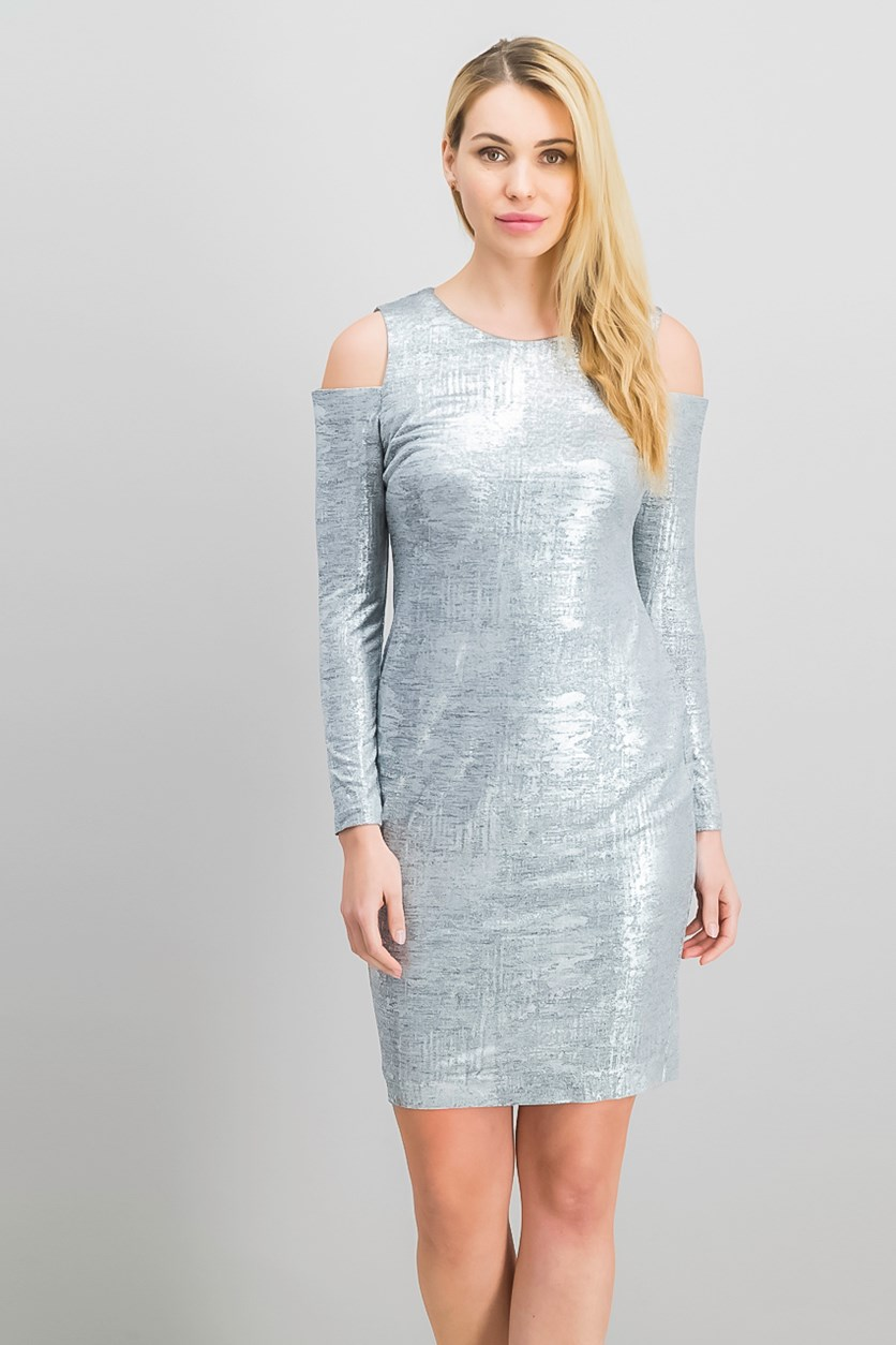 Petite Cold-Shoulder Sheath Dress, Silver