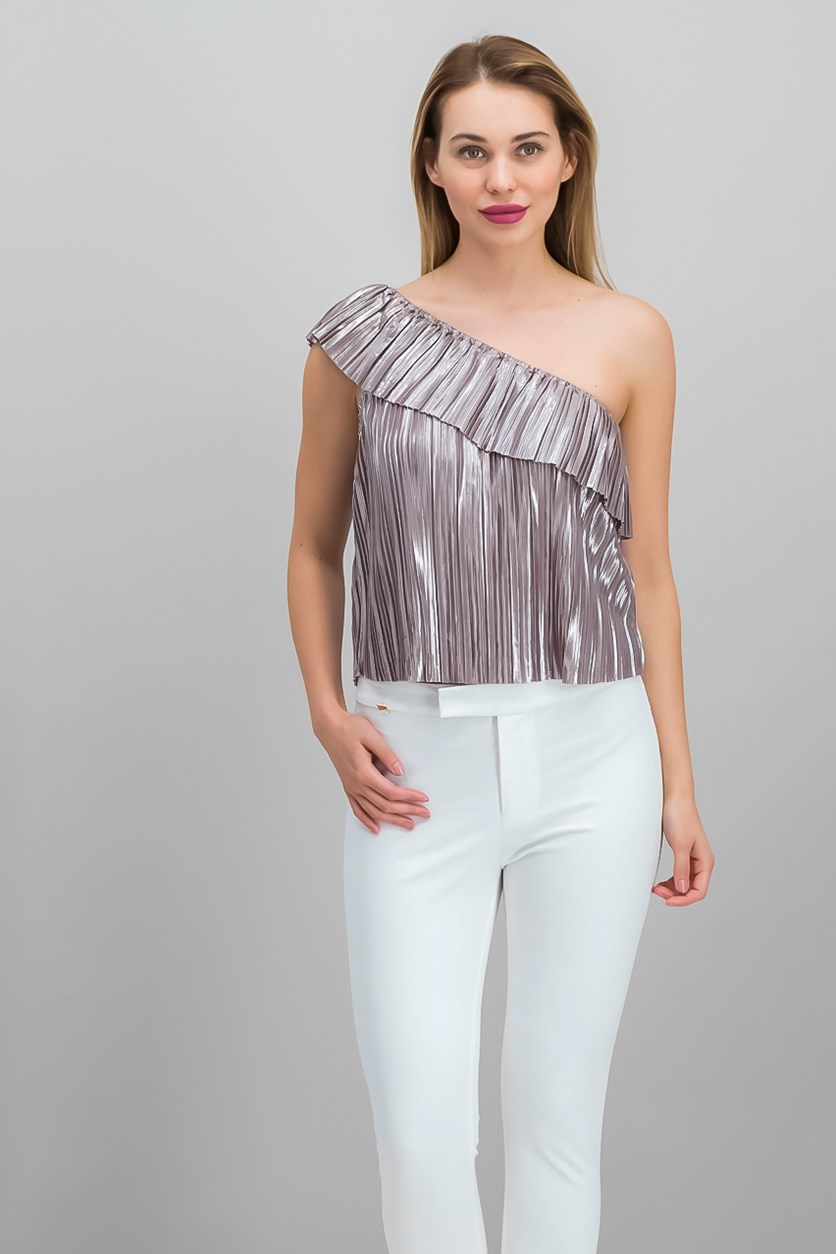 Emerson Metallic One-Shoulder Top, Sphinx