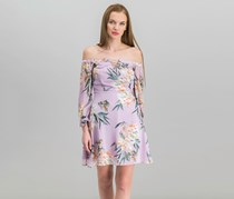 Guess Printed Off-The-Shoulder Dress, Tropic Iris Lavender