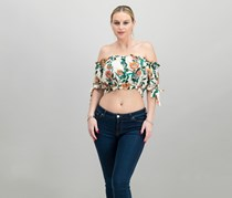 Guess Off-The-Shoulder Crop Top, Tiki Garden Cream