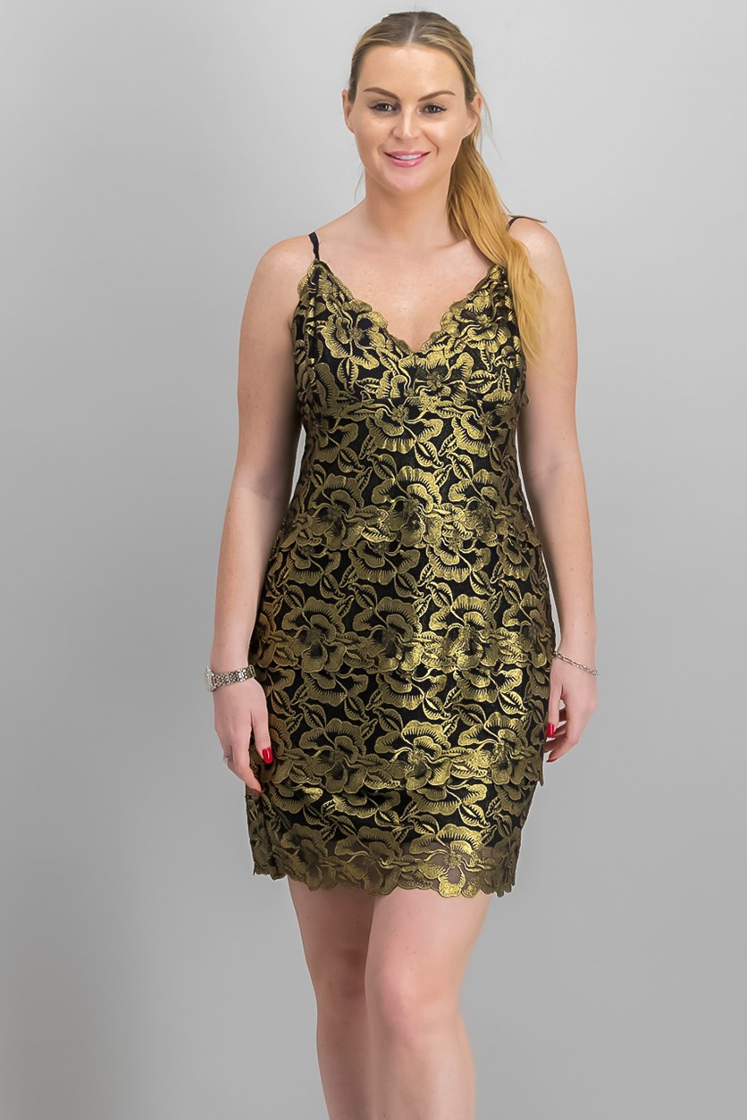Women's Metallic Slip Dress,Jet Black/Gold Combo