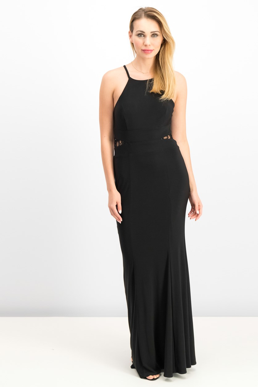 Women's Lace-Back Halter Gown, Black