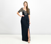 Adrianna Papell Women's Embellished Special Occasion Evening Dress, Navy