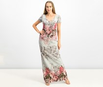 Adrianna Papell Printed Matelasse Gown, Ice Blue Combo