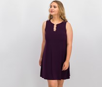 Women Petite Embellished Shift Dress, Luxe Plum