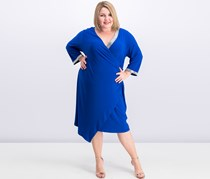 Women Plus Size Embellished Faux-Wrap Dress, Neon Royal