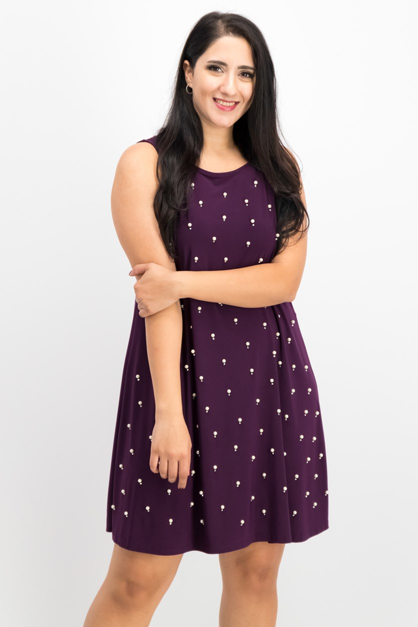 Women Embellished-Front A-Line Dress, Luxe Plum