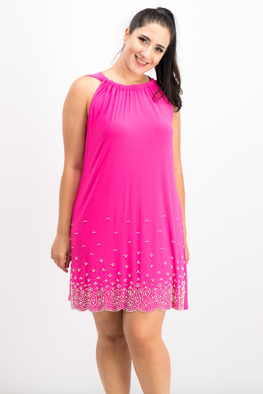 Women's Beaded Shift Dress, Pink