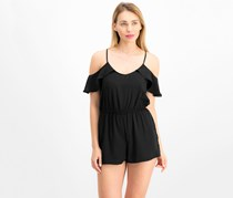 Be Bop Juniors' Flutter-Sleeved Cold-Shoulder Romper, Black
