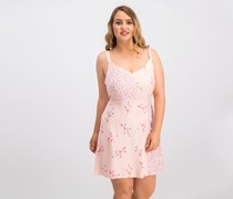 Be Bop Juniors' Floral-Print Fit & Flare Dress, Blush