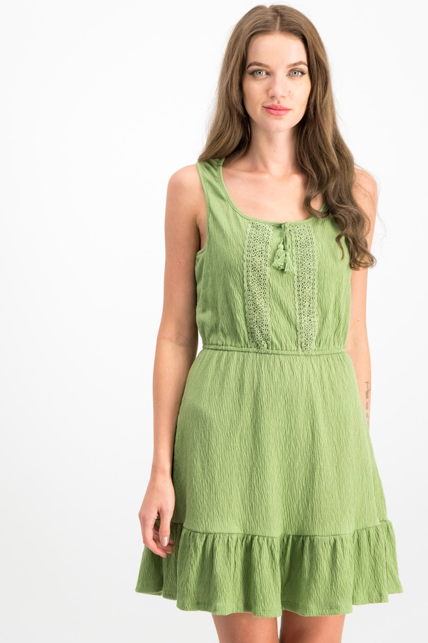 Juniors' Ruffled-Hem Peasant Dress, Avocado