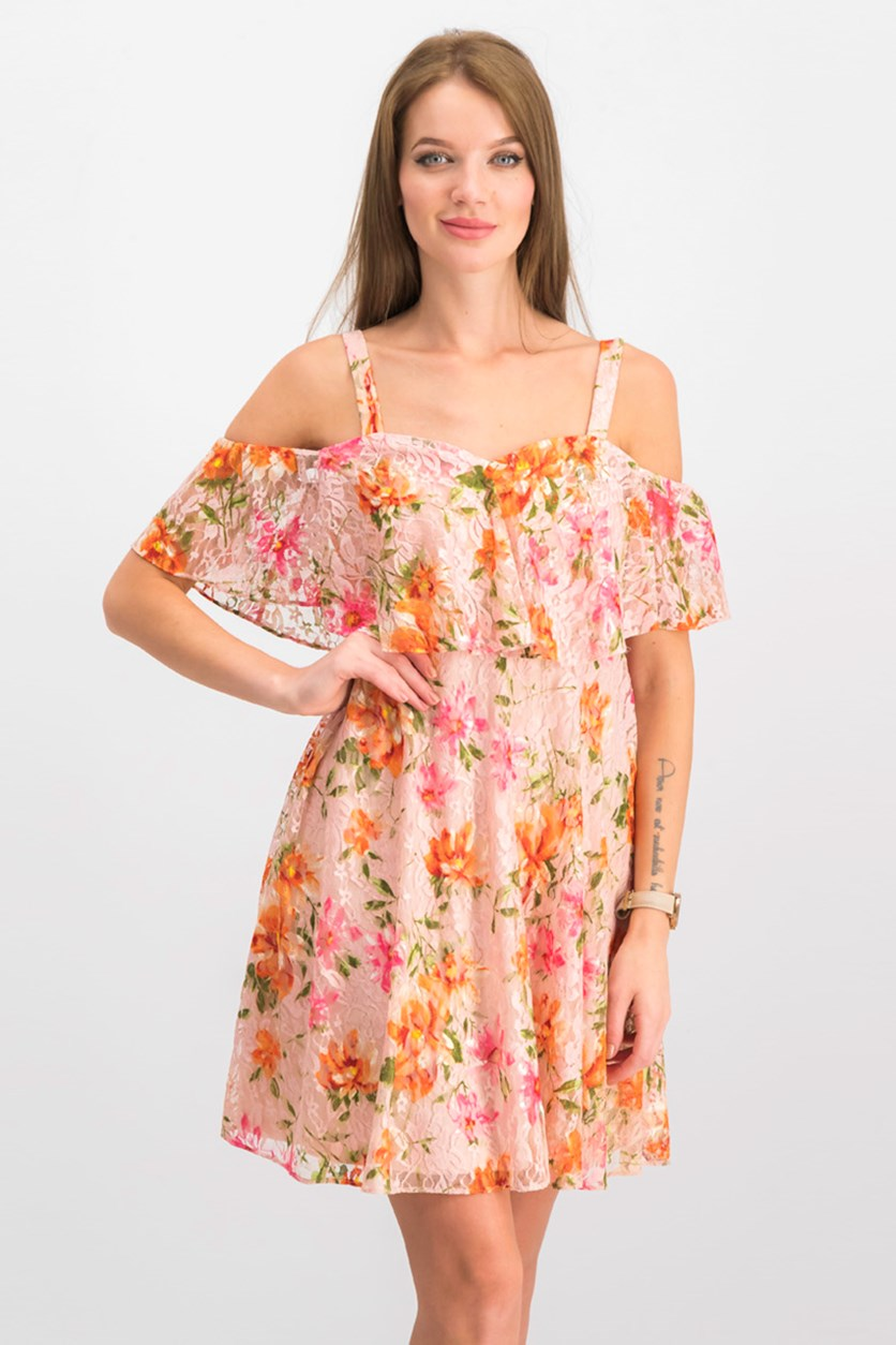 Floral Lace Cold-Shoulder Dress, Light Pink