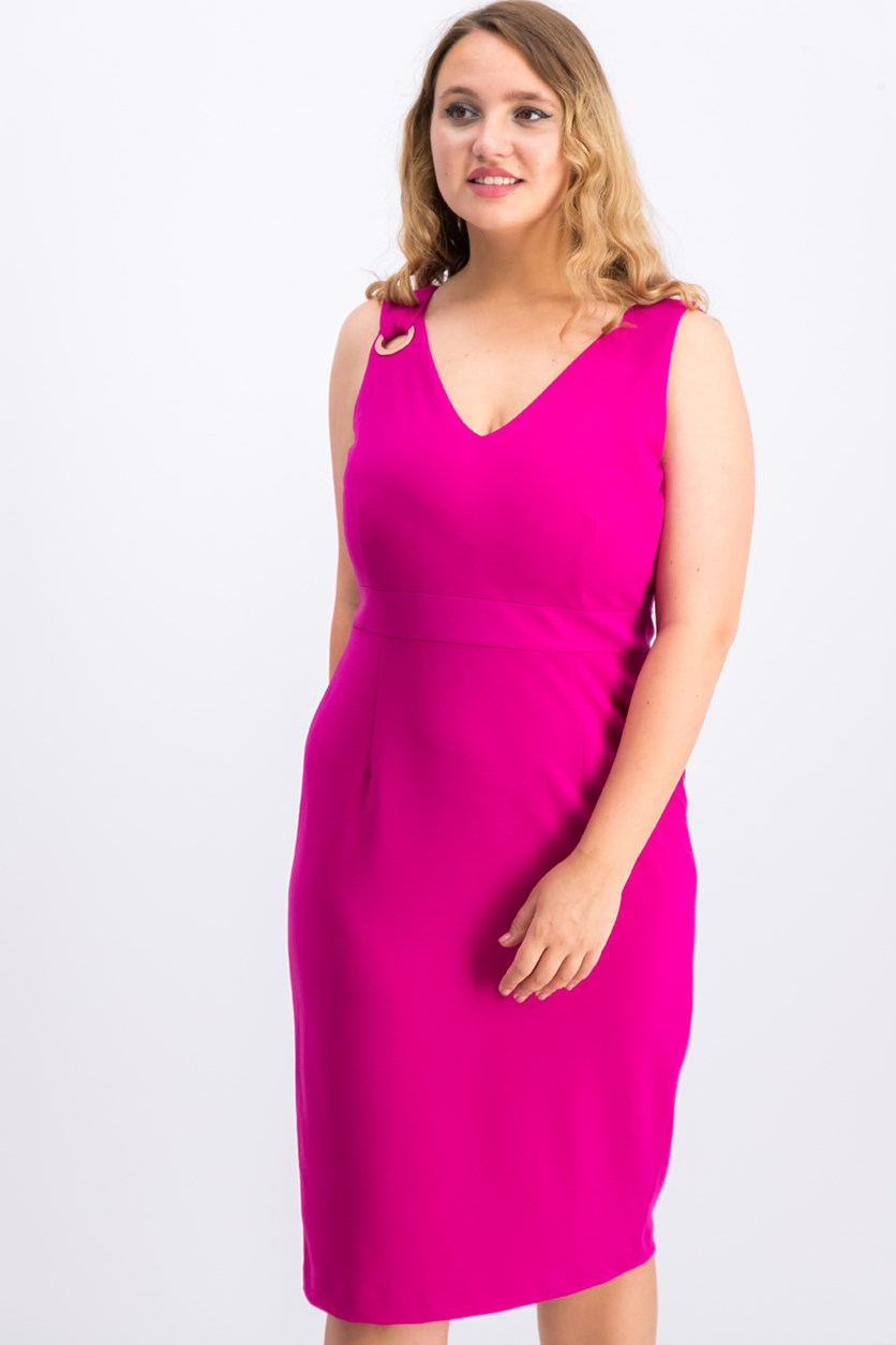 Women Grommet Sheath Dress, Medium Pink