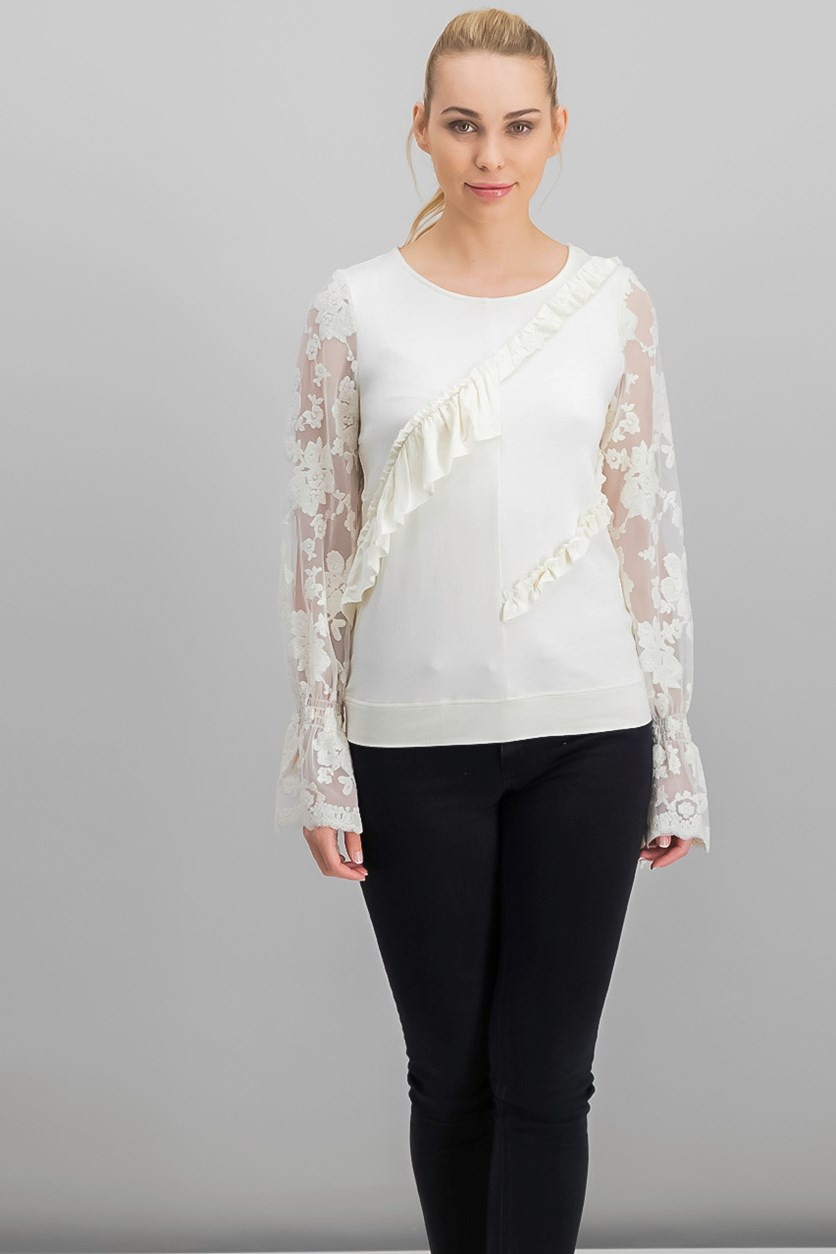 Ruffled Lace-Sleeve Sweater Top, Canvas