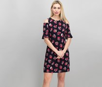Tommy Hilfiger Floral Cold-Shoulder a-Line Dress, Navy Combo