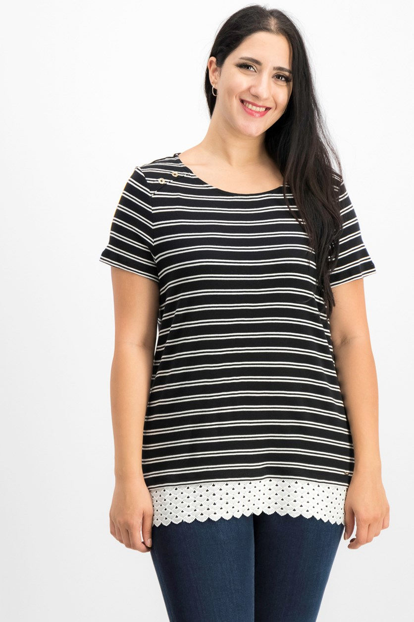 bfe743ccc734 Women Striped Lace Layered-Look Top, Black/White