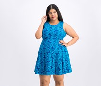 Women Botanical Palm Lace Fit Flare Dress, Blue Combo