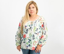 Tommy Hilfiger Women's Printed Peasant Blouse, Ivory Monaco