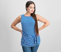 Striped Sarong-Tie Top, Surf/Ivory
