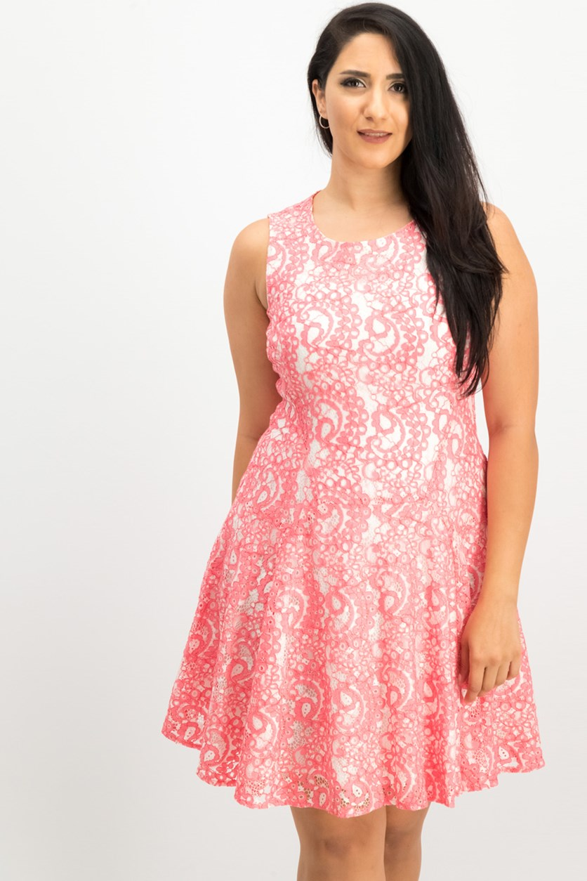 Two-Tone Paisley Lace A-Line Dress, Pink
