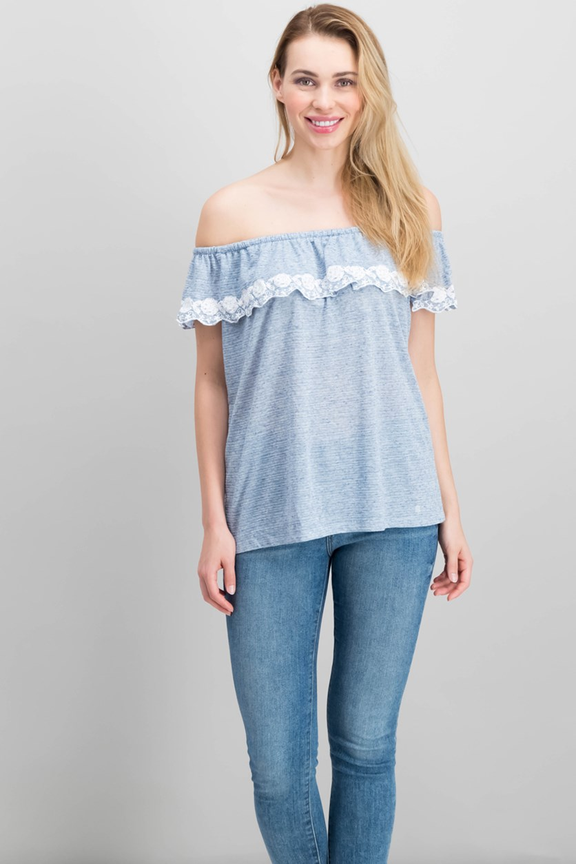 Women's Off-The-Shoulder Top, Blue Heather