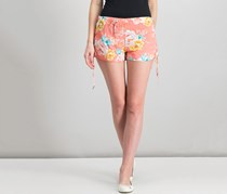 Derek Heart Juniors Challis Lace Up Side Shorts, Lantana Floral