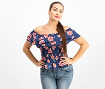 Women Juniors Cotton Off-The-Shoulder Top, Navy Floral