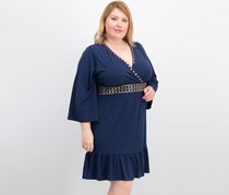 Michael Kors Plus Size Studded V-Neck Dress,True Navy