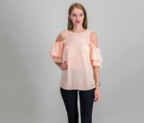 Michael Kors Cold-Shoulder Flounce Top, Dusty Coral