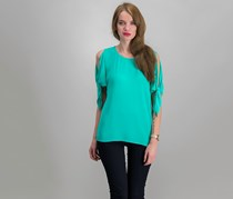 Michael Kors Split-sleeve Top, Aqua