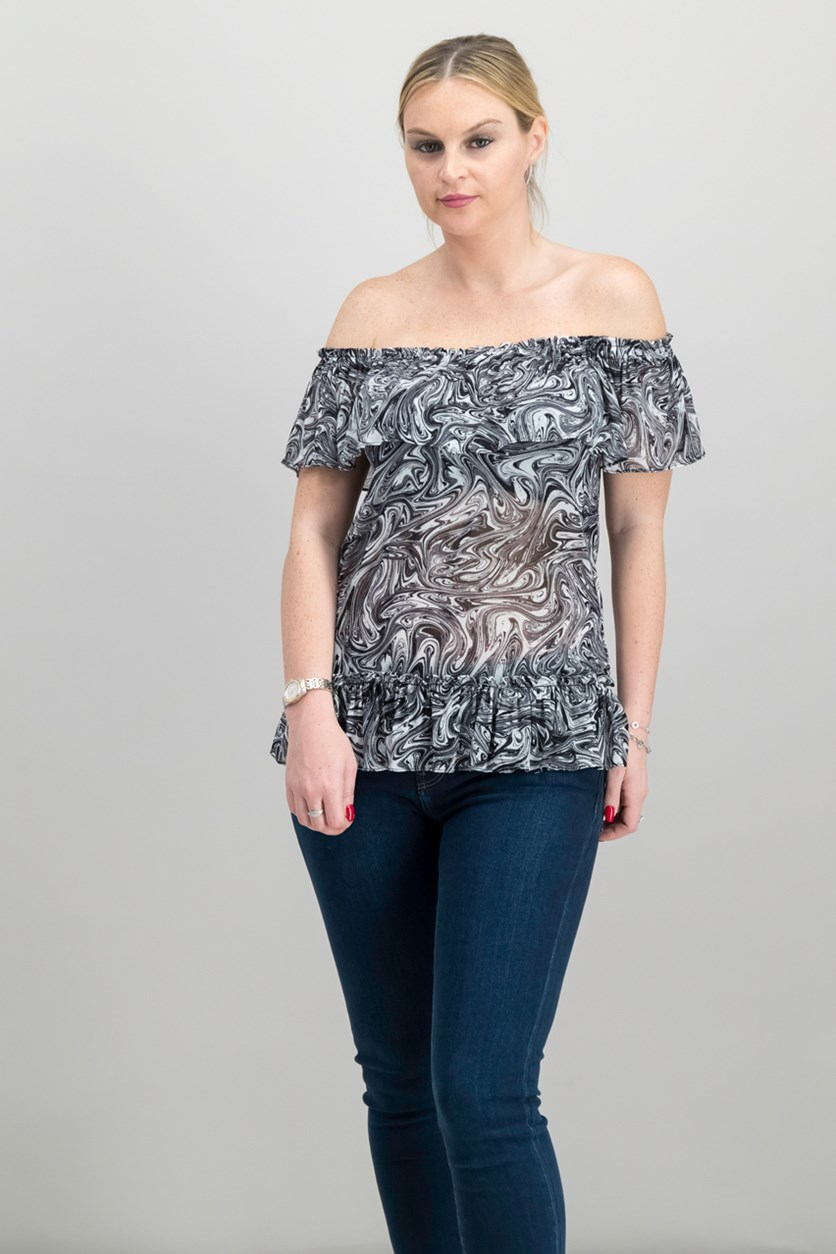 Marbled-Print Off-The-Shoulder Top, White/Black