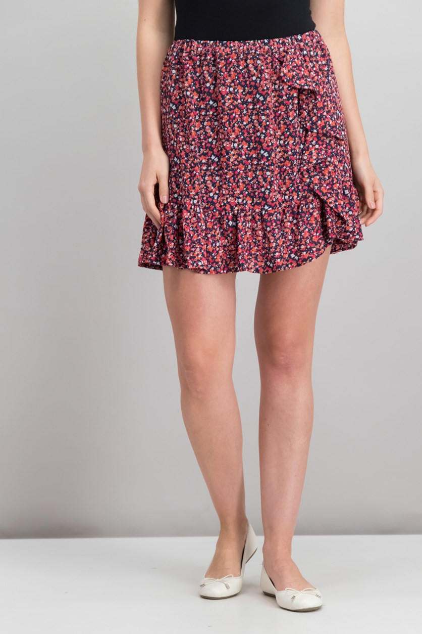 Ruffled Floral-Print Skirt, Bright Blush Combo
