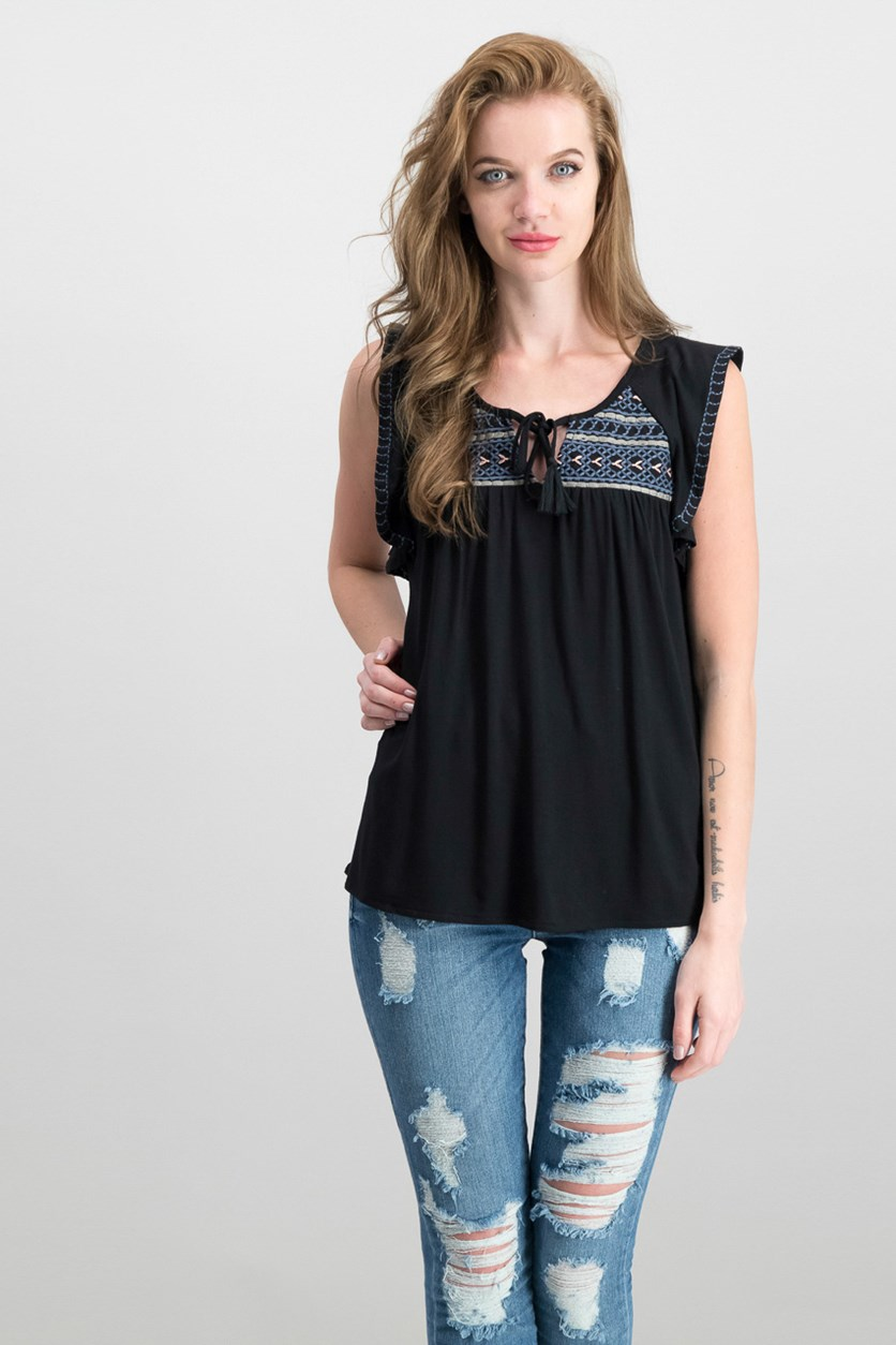 Wild Belle Embroidered Top, Black