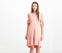 Sanctuary Lakeside Cotton Tie-Sleeve Cold-Shoulder Dress, Dirty Pink