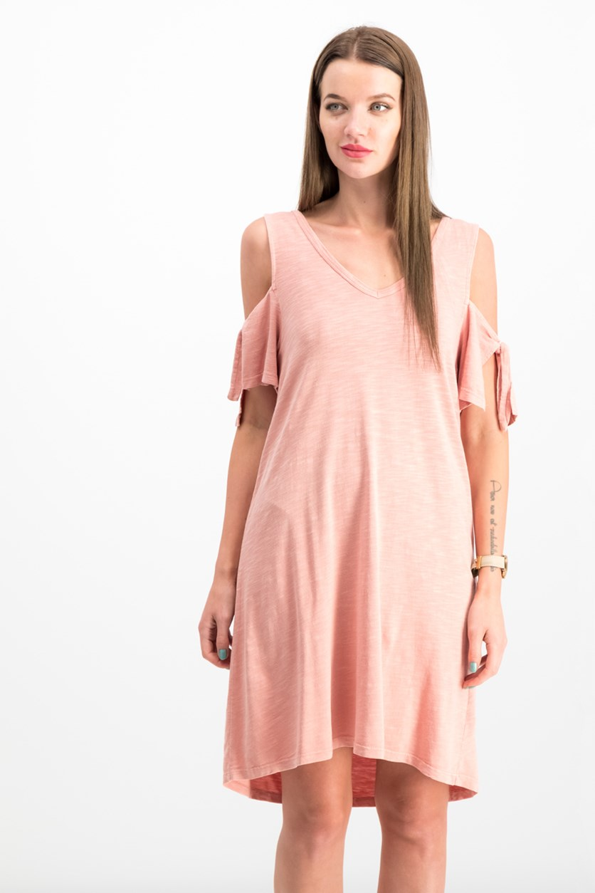 Lakeside Cotton Tie-Sleeve Cold-Shoulder Dress, Dirty Pink