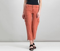 Sanctuary Linen Cropped Cargo Pants, Terracotta