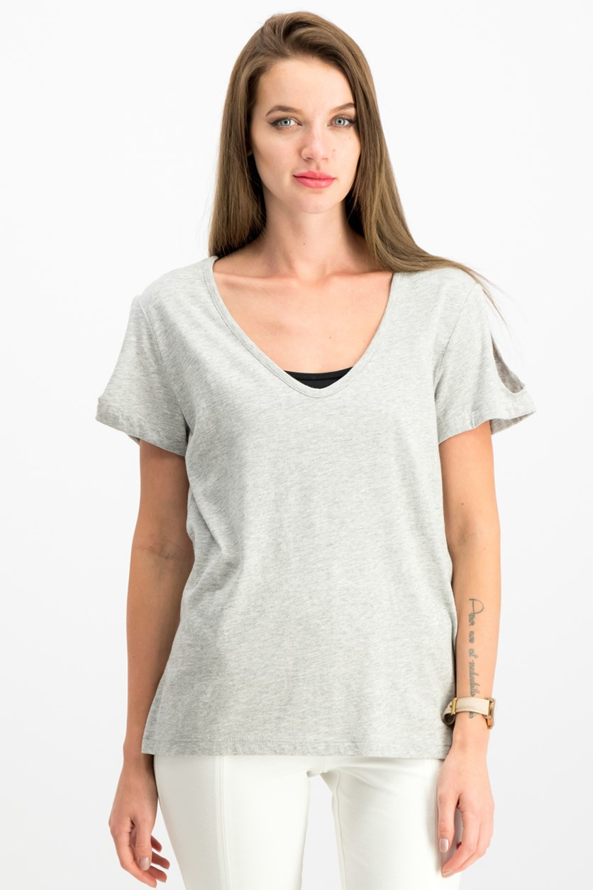Twist-Sleeve Soft T-Shirt, Heather Gray