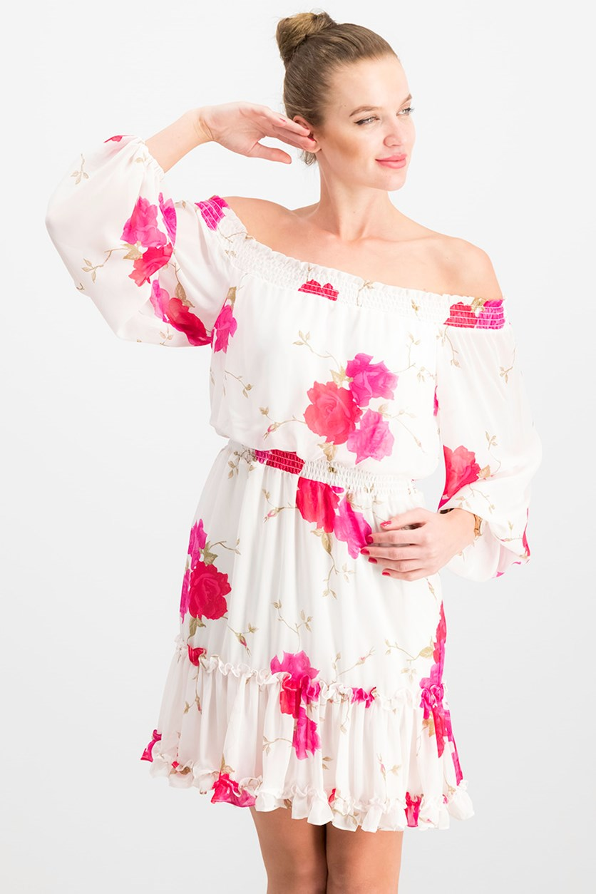 Women's Floral Off-the-Shoulder Dress, Off White/Pink