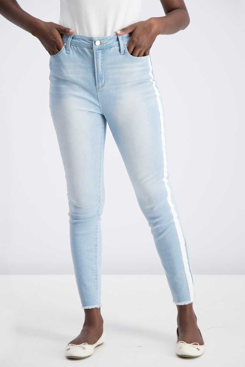 Juniors Distressed Hem Skinny Jeans, Wash Blue