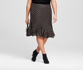Who What Wear Women's Polka Dot Long Swing Skirt, Black Gold